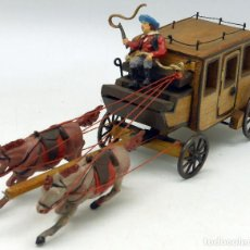 Figuras de Goma y PVC: DILIGENCIA TEIXIDÓ EN MADERA CABALLOS Y CONDUCTOR GOMA AÑOS 50 BUEN ESTADO. Lote 70006373