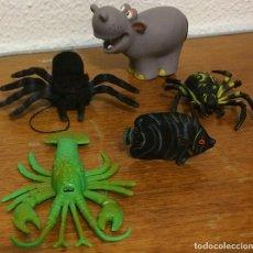 Figuras de Goma y PVC: LOTE DE FIGURAS DE PLÁSTICO. 5 ANIMALES: ARAÑAS, HIPOPÓTAMO, CIGALA, PEZ. BUEN ESTADO.. Lote 70012549
