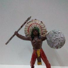 Figuras de Goma y PVC: JEFE INDIO . COMANSI . PRIMERA EPOCA. Lote 70201989