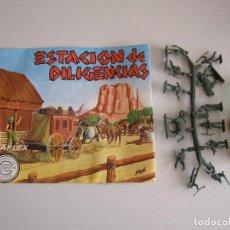 Figuras de Goma y PVC: SOBRE MONTAPLEX ORIGINAL AÑOS 70 ESTACION DE DILIGENCIAS. Lote 116747984