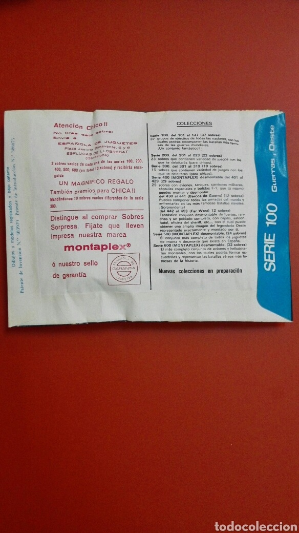 Figuras de Goma y PVC: SOBRE MONTAPLEX ORIGINAL AÑOS 70 LA BATALLA DE LAS GALAXIAS. - Foto 2 - 222504148