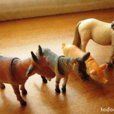 Figuras de Goma y PVC: LOTE 4 FIGURAS DE ANIMALES: CABALLO, CERDO CABRA.... Lote 71615143