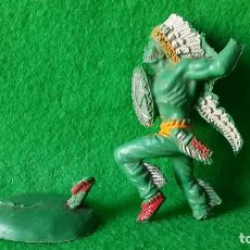 Figuras de Goma y PVC: FIGURA DE INDIO CON ESCUDO EN PLASTICO COMANSI JECSAN REAMSA GOMARSA. Lote 72775747