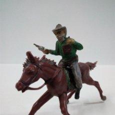 Figuras de Goma y PVC: VAQUERO BANDIDO - ATRACADOR A CABALLO . REALIZADO POR PECH . AÑOS 50 EN GOMA. Lote 72910683