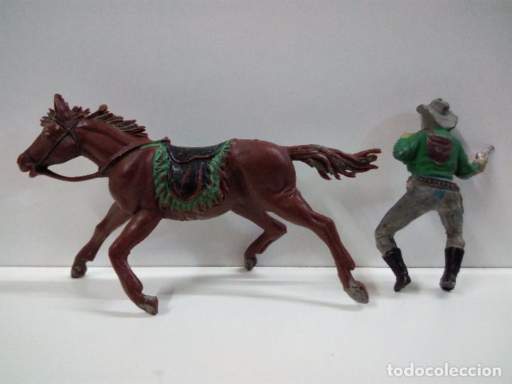 Figuras de Goma y PVC: VAQUERO BANDIDO - ATRACADOR A CABALLO . REALIZADO POR PECH . AÑOS 50 EN GOMA - Foto 6 - 72910683