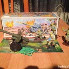 Figuras de Goma y PVC: ANTIGUO CAÑON ANTI TANQUE JAPONES JAPONESES JUGUETE PECH + FIGURAS SERVIDORES EN CAJA ORIGINAL. . Lote 74475755