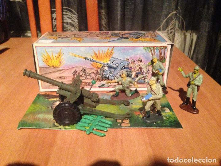 Figuras de Goma y PVC: ANTIGUO CAÑON ANTI TANQUE JAPONES JAPONESES JUGUETE PECH + FIGURAS SERVIDORES EN CAJA ORIGINAL. - Foto 2 - 74475755