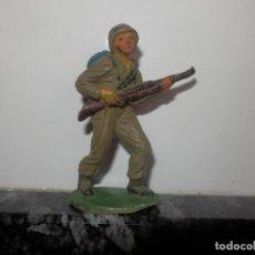 Figuras de Goma y PVC: SOLDADOS EN COMBATE DE JECSAN GOMA ORIGINAL AÑOS 50 GUERRA MUNDIAL. Lote 74986111