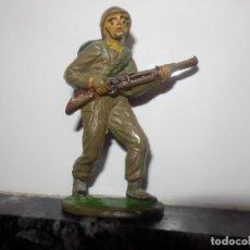 Figuras de Goma y PVC: SOLDADOS EN COMBATE DE JECSAN GOMA ORIGINAL AÑOS 50 GUERRA MUNDIAL. Lote 74986451