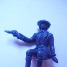 Figuras de Goma y PVC: FIGURA-MUÑECO PISTOLERO-COWBOY-VAQUERO COLOR AZUL PARA CARAVANA-CARROZA-DILIGENCIA DE COMANSI-EXIN. Lote 76643487