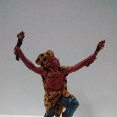Figuras de Goma y PVC: GUERRERO INDIO . SERIE AZTECAS . REALIZADA POR PECH . AÑOS 50 EN GOMA. Lote 76927209