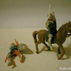 Figuras de Goma y PVC: LOTE DOS SOLDADOS JECSAN PLASTICO A CABALLO. Lote 77226689