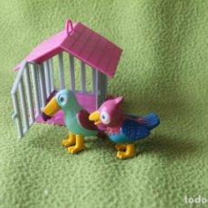 Figuras de Goma y PVC: JASMAN BIRD-JAULA Y DOS PAJAROS-VINTAGE JASMAN TOYS MINIATURE-BIRDS AND BIRD CAGES 1990. Lote 77871833
