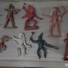 Figuras de Goma y PVC: LOTE ANTIGUOS INDIOS Y VAQUEROS COMANSI. Lote 78305285