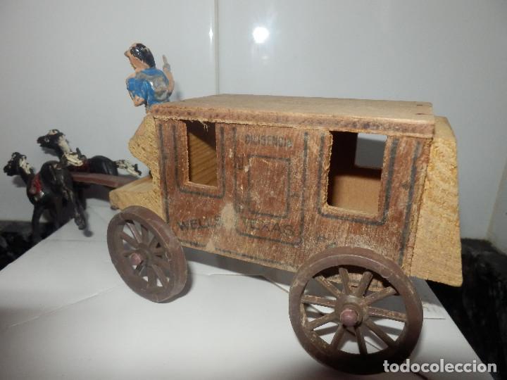Figuras de Goma y PVC: caravana del oeste con caja original carreta de carga diligencia texas en madera fart west comansi - Foto 3 - 78650669