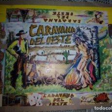 Figuras de Goma y PVC: CAJA Y LAMINA DE LA CARAVANA DEL OESTE SOTORRES. Lote 78830061