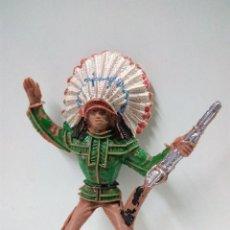 Figuras de Goma y PVC: JEFE INDIO PARA CABALLO . REALIZADO POR COMANSI .. Lote 79797533