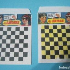 Figuras de Goma y PVC: MONTAPLEX- LOTE DE 2 SOBRES VACIOS SERIE RECREATIVA-AJEDREZ Y JUEGO DAMAS. Lote 80309085