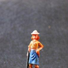Figuras de Goma y PVC: FIGURA CAZADORA DEL SAFARI CON RIFLE Y CASCO DESMONTABLE.. Lote 82084160