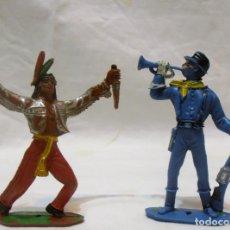 Figuras de Goma y PVC: INDIO Y SOLDADO COMANSI. Lote 82513264