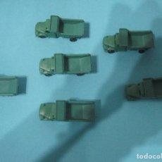 Figuras de Goma y PVC: MONTAPLEX-LOTE DDE 6 CAMIONES MILITAR-COLOR VERDE- VENIAN EN LOS SOBRES MONTAPLES-AÑOS 80. Lote 82665432