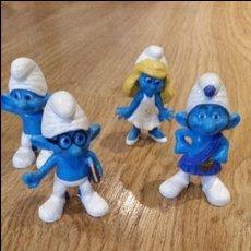 Figuras de Goma y PVC: 4 FIGURITAS DE PITUFOS. Lote 82983732