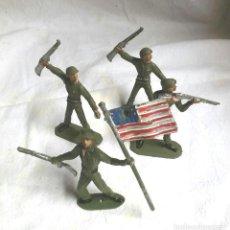 Figuras de Goma y PVC: 4 FIGURAS EJERCITO AMERICANO, ABANDERADO Y 3 SOLDADOS DE COMANSI. Lote 83512928