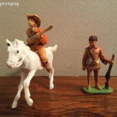 Figuras de Goma y PVC: FIGURA DAVID CROCKET JECSAN VAQUERO Y BUFALO BILL DE COMANSI. . Lote 84633460