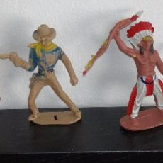 Figuras de Goma y PVC: LOTE DE 5 FIGURAS DE INDIOS Y VAQUEROS (COMANSI, PECH, REAMSA, JECSAN). Lote 85217872