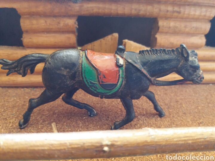 Figuras de Goma y PVC: Antigua Figura del Oeste en Goma. Caballo Cowboy. Pech Hermanos. Años 50. - Foto 3 - 85307176