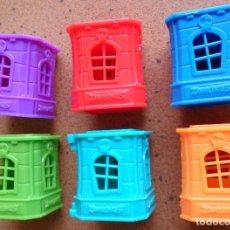 Figuras de Goma y PVC - Lote 6 casas torres cajas Zomlings Zomling, ventanas abiertas - 85328376