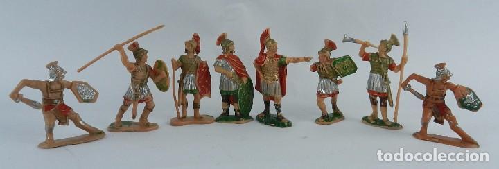 8 FIGURAS DE GLADIADORES, GLADIADOR ROMANO, REAMSA, AÑOS 60. REALIZADAS EN PLASTICO. (Juguetes - Figuras de Goma y Pvc - Reamsa y Gomarsa)