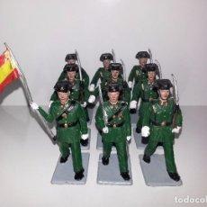 Figuras de Goma y PVC: REAMSA GOMARSA SOLDIS : 9 FIGURAS DESFILE MILITAR GUARDIA CIVIL EN GOMA AÑOS 60 / 70. Lote 87115012