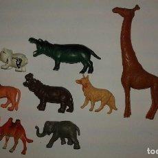 Figuras de Goma y PVC: LOTE DE FIGURAS DE PLASTICO MADE IN HONG KONG AÑOS 70 ANIMALES SALVAJES. Lote 87678100
