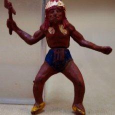 Figuras de Goma y PVC: FIGURA DE PLASTICO, INDIO, FABRICADO POR GAMA, 1950S. Lote 88458216