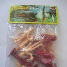 Figuras de Goma y PVC: BOLSA CON FIGURAS THUNDERBIRDS GUARDIANES DEL ESPACIO DE COMANSI SIN ABRIR ROJO Y SALMÓN. Lote 89679916