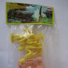 Figuras de Goma y PVC: BOLSA CON FIGURAS THUNDERBIRDS GUARDIANES DEL ESPACIO DE COMANSI SIN ABRIR AMARILLO Y SALMÓN. Lote 89680100