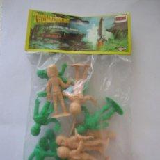 Figuras de Goma y PVC: BOLSA CON FIGURAS THUNDERBIRDS GUARDIANES DEL ESPACIO DE COMANSI SIN ABRIR VERDE Y SALMÓN. Lote 89680388