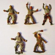 Figuras de Goma y PVC: PRECIOSO LOTE 5 PERSONAJES OESTE, VAQUEROS, COWBOYS. PECH HNOS. 5 CM. Lote 89835096