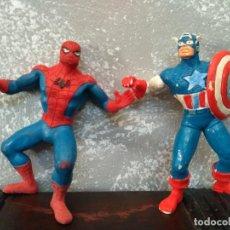 Figuras de Goma y PVC: LOTE 2 FIGURAS PVC COMICS SPAIN SUPERHEROES MARVEL SPIDERMAN CAPITAN AMERICA. Lote 90177764