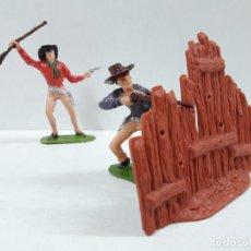 Figuras de Goma y PVC: VAQUEROS Y EMPALIZADA . REALIZADO POR JECSAN . AÑOS 60. Lote 90512000