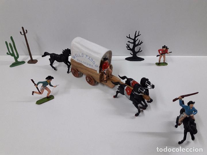 Figuras de Goma y PVC: VAQUEROS Y COMPLEMENTOS REALIZADOS POR JECSAN CON CARRETA WELLS FARGO . AÑOS 60 - Foto 2 - 91680685