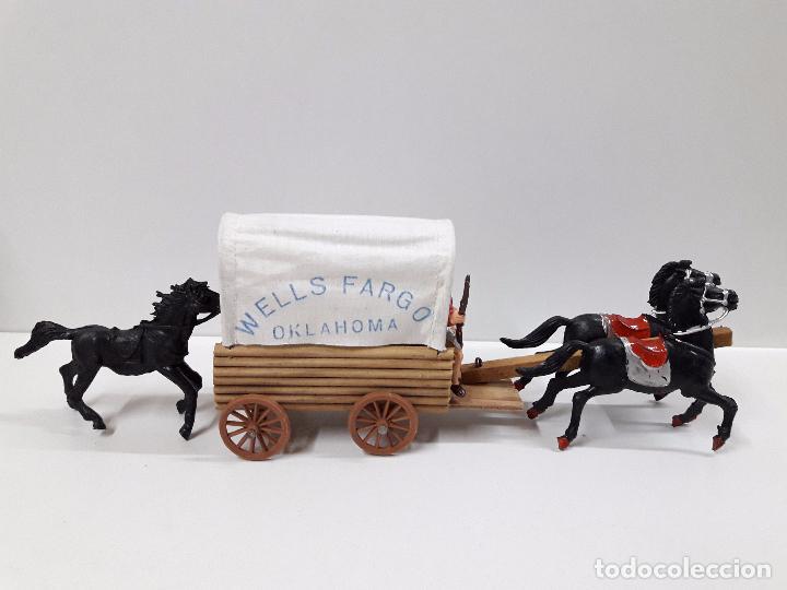 Figuras de Goma y PVC: VAQUEROS Y COMPLEMENTOS REALIZADOS POR JECSAN CON CARRETA WELLS FARGO . AÑOS 60 - Foto 3 - 91680685