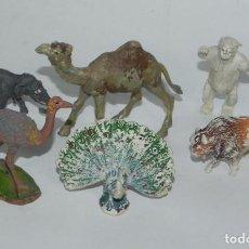 Figuras de Goma y PVC: 6 FIGURAS DE ANIMALES DE PLASTICO, POSIBLEMENTE PECH. DROMEDARIO, AVESTRUZ, ELEFANTE, PAVO REAL, BIS. Lote 91703195