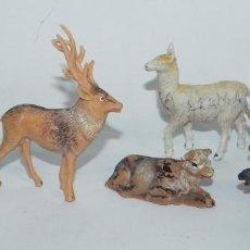 Figuras de Goma y PVC: 6 FIGURAS DE ANIMALES DE PLASTICO, POSIBLEMENTE PECH. JABALI, VACA, CIERVO, LLAMA, CABRA, BUEY.. Lote 91703490