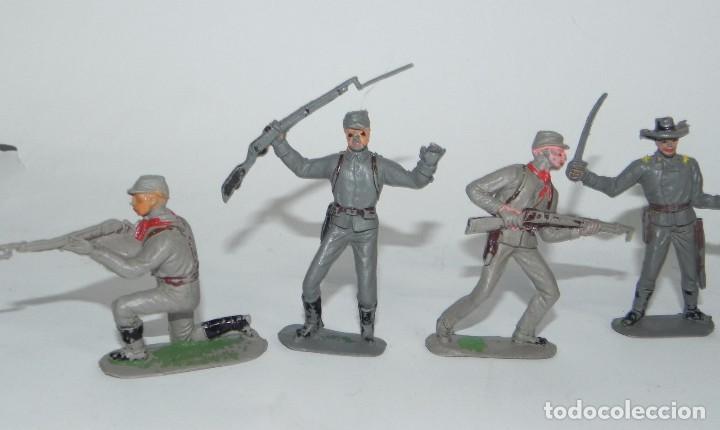Figuras de Goma y PVC: 6 FIGURAS SOLDADOS, YANKEE CONFEDERADO DE PLASTICO, REALIZADOS POR PECH, AÑOS 60. - Foto 2 - 91709150