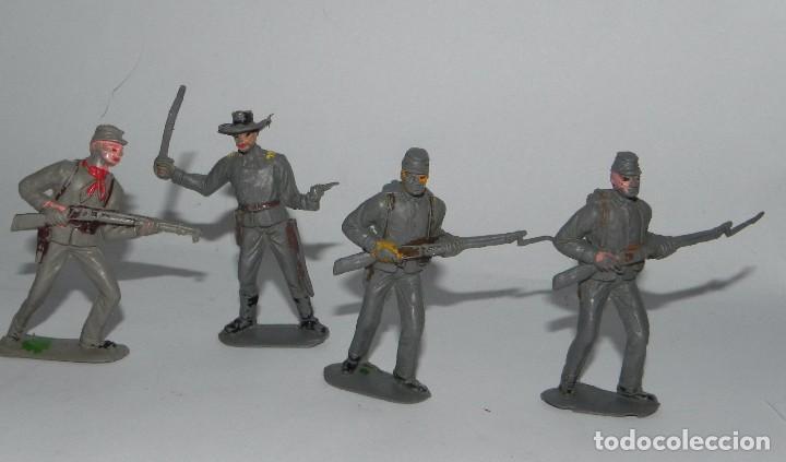 Figuras de Goma y PVC: 6 FIGURAS SOLDADOS, YANKEE CONFEDERADO DE PLASTICO, REALIZADOS POR PECH, AÑOS 60. - Foto 3 - 91709150