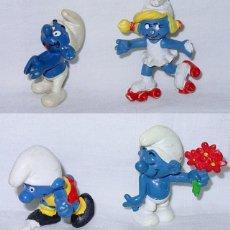 Figuras de Goma y PVC: LOTE 4 PITUFOS. PITUFO - PEYO SCHLEICH GERMANY. AÑOS 80. Lote 91948935