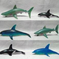 Figuras de Goma y PVC: LOTE 6 PECES GOMA HUECA 2 TIBURONES 2 DELFINES 2 ORCAS. TIBURO DELFIN ORCA. AÑOS 80-90. Lote 91950825