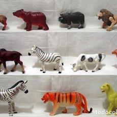 Figuras de Goma y PVC: LOTE 11 ANIMALES CEBRA-LEON-TIGRE-OSO-RENO-CIERVO-BUFALO-VACA-LEONA-VENADO. AÑOS 80-90. Lote 91951055